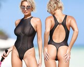 Sexy sheer swimsuit Thong monokini Mesh black see through high neck bodysuit Cute high cut leg transparent one piece bathing suit TRUHANI