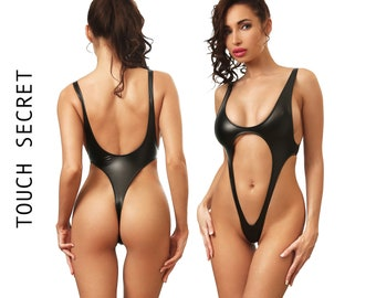 e4192d64c7 Sexy one piece swimsuit Bodysuit thong Bathing suit Women erotic swimwear  Extreme black monokini Cheeky fetish latex wear High cut leg