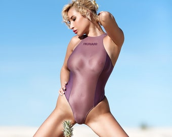 352d204206 Sexy sheer swimsuit Thong monokini Mesh purple transparent bodysuit High  cut leg extreme one piece bathing suit Cute See through high neck
