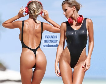 6a26bffe33 Sexy one piece thong swimsuit Monokini Black bathing suit High cut leg  sport bodysuit Cute womens swimwear Exotic open back dancewear 2019