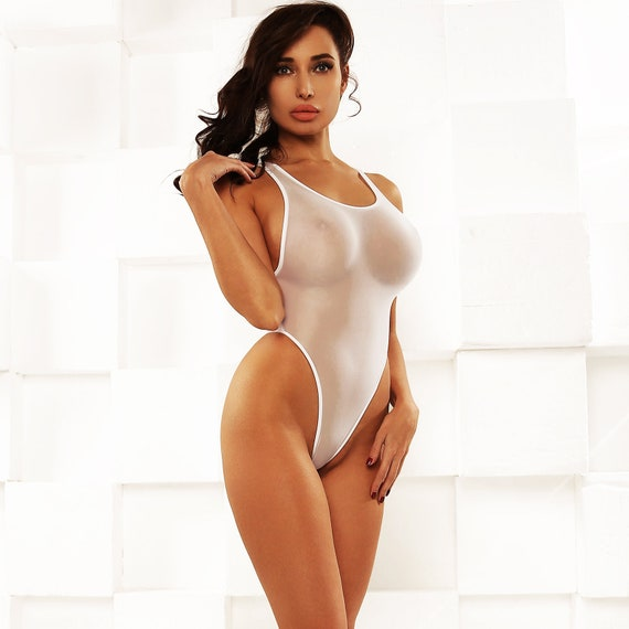 Erotic Transparent One Piece Swimsuit Bodysuit Bathing Suit Etsy