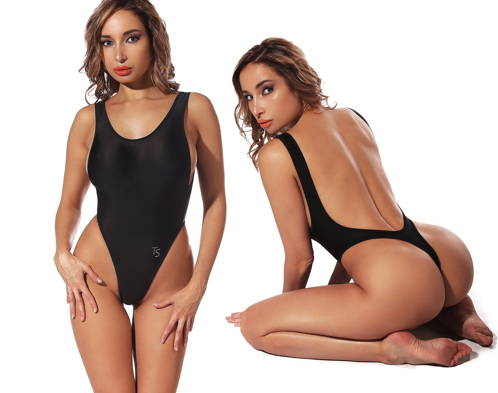 Lazer Wave Thong Leotard Bodysuit
