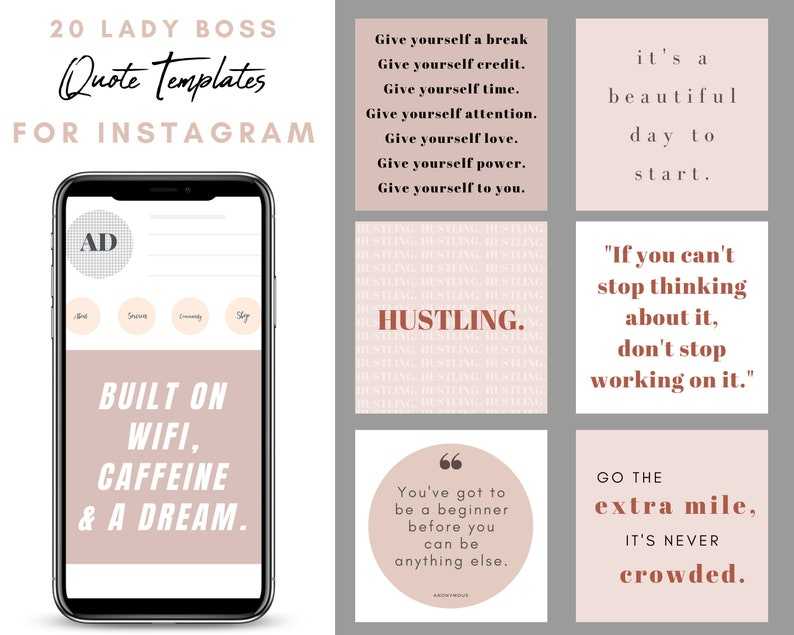 Canva Lady Boss Inspirational Instagram Quotes Set of 20 image 0