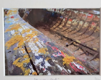 Forgotten boat photograph, fine art giclee mounted print (Norfolk/boat photograph/sea/abstract print)