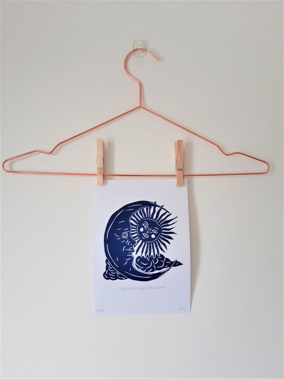 The Sun and The Moon original lino print, hand pressed on recycled paper (small wall art/celestial/nursery art)