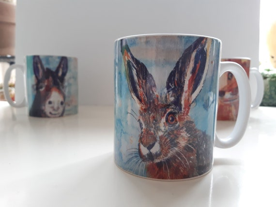 Luna the hare ceramic mug (taken from an original acrylic and watercolour painting)