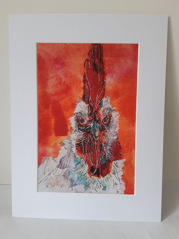Ferdie the chicken - fine art mounted print, printed from a photograph of the original watercolour painting