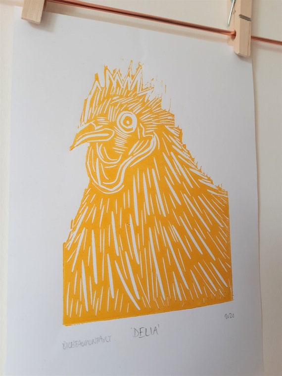 Delia the chicken, hand pressed lino print on recycled paper (available in red, yellow or orange ink)