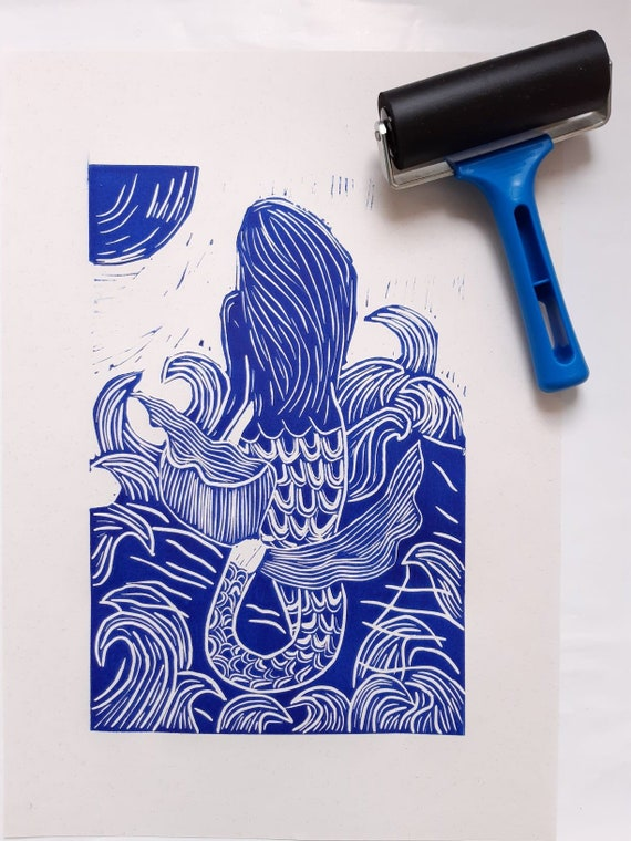 The Moon Mermaid, hand printed A4 lino cut print