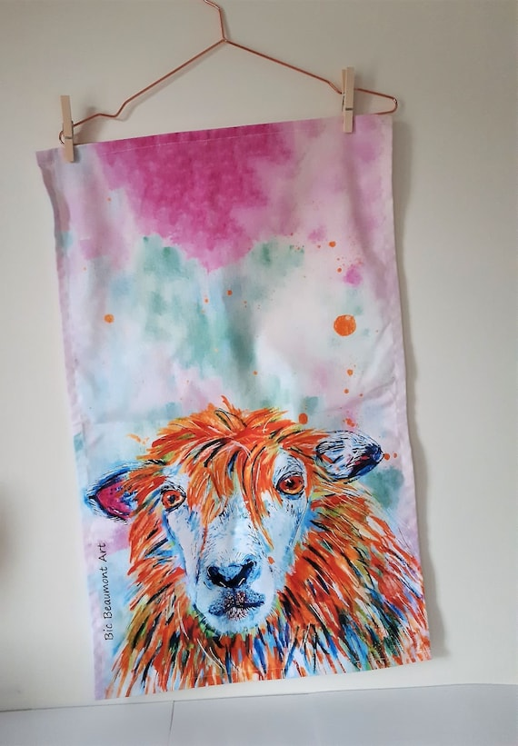David the sheep organic cotton tea towel, printed from the original acrylic and watercolour painting