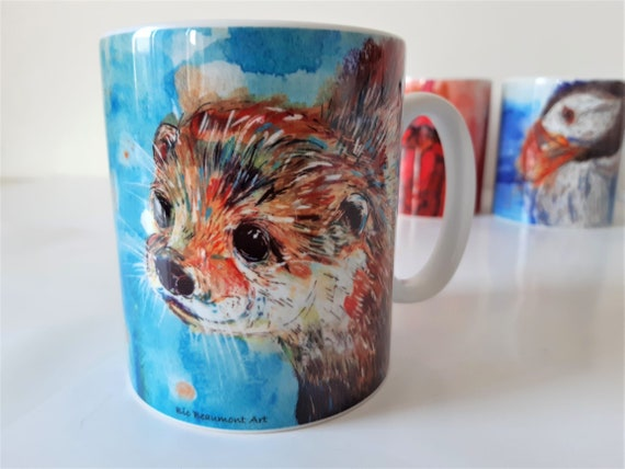 Merlin the otter ceramic mug (original fun and colourful illustrative acrylic and watercolour painting)