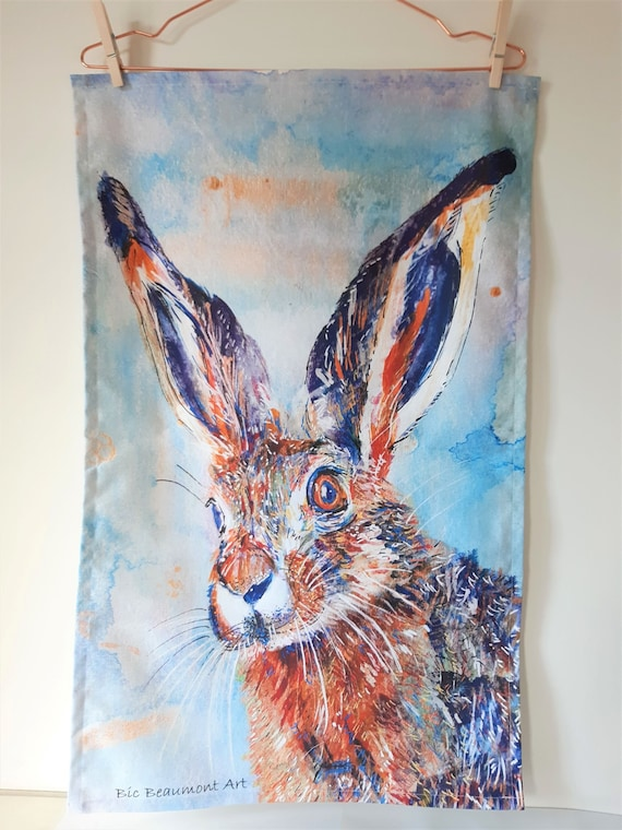 Luna the hare organic cotton tea towel, original acrylic and watercolour painting - perfect Christmas stocking filler!