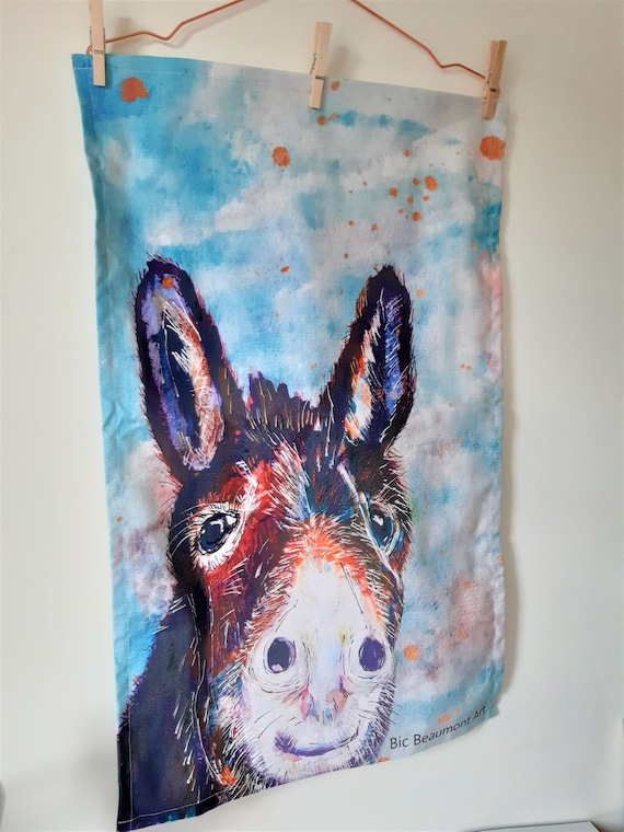 Olive the donkey organic cotton tea towel, printed from an original acrylic and watercolour painting