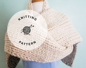 KNITTING PATTERN: Monterey Chunky Knitted Scarf. Long Cream Knit Scarf Pattern.