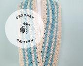 CROCHET PATTERN: Cardiff Scarf Crochet Pattern. Long Crochet Scarf for Women. Blue and Cream Neckwear.
