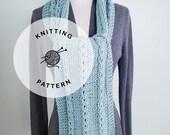 KNITTING PATTERN: Boardwalk Knitted Scarf. Braided Knit Scarf Pattern. Light Blue Neckwear.