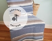 CROCHET PATTERN: Stripes on the Beach Blanket. Easy Crochet Beach Afghan Pattern. Blue and Gray Cotton Throw.