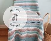 CROCHET PATTERN: Beachglass Cotton Afghan Crochet Pattern. Aqua Beach Crochet Blanket Patterns.