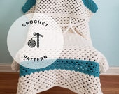 CROCHET PATTERN: Chilly Nights Granny Crochet Blanket, White and Blue Crocheted Baby Throw