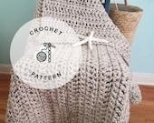 CROCHET PATTERN: Sand Dunes Crochet Laphgan, Super Chunky Crochet Blanket