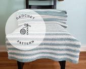CROCHET PATTERN: Encinitas Crochet Cotton Afghan. Aqua and Cream Beach Crochet Blanket Patterns.