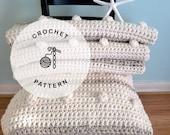 CROCHET PATTERN: Fog Horn Single Crochet Blanket. Crocheted Chunky Afghan Pattern.