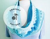 CROCHET PATTERN: Malibu Cowl Crochet Pattern. Bobble Infinity Scarf Patterns.
