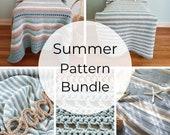 CROCHET PATTERN BUNDLE: 3 Summer Blanket Patterns Collection. Cotton Beach Throw Pattern Bundle.