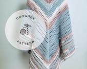 CROCHET PATTERN: Seaside Shawl Pattern, Triangle Scarf Crochet Pattern, Crocheted Triangle Wrap for Women