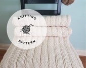 KNITTING PATTERN: Pacific Chunky Reversible Knit Lapghan. Easy Knit Blanket Pattern.