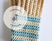 CROCHET PATTERN: Striped Fingerless Gloves. Simple Crochet Gloves Pattern.