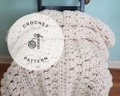 CROCHET PATTERN: Pike Market Bobble Afghan Blanket Pattern.  Chunky Crochet Afghan Patterns.