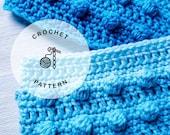 CROCHET PATTERN: Pearls on the Beach Headband Crochet Pattern. Bobble Crochet Earwarmer Patterns.