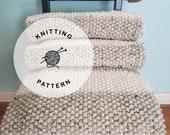 KNITTING PATTERN: Laguna Beach Chunky Blanket. Easy Seed Stitch Knit Throw Pattern.
