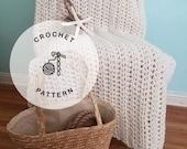 CROCHET PATTERN: White Water Crochet Blanket, Chunky Crochet Oversized Throw