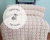 CROCHET PATTERN: Seaside Daisy Crochet Chunky Throw. Crochet Afghan Patterns.