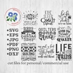 Quilters SVG Bundle, Quilting svg, cut file, Sewing PNG, cricut files, silhouette files, sublimation files, Quilting Designs