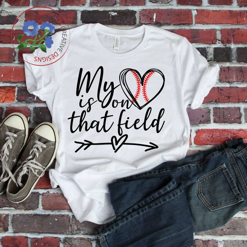 My heart is on that field SVG Cutting File baseball mom svg image 0