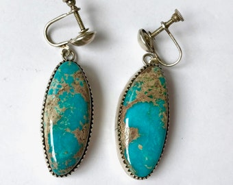 52aa46058 Beautiful Vintage Navajo Turquoise and Silver Earrings