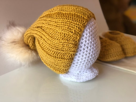 Mustard Baby Beanie with Fur  595315bae9a