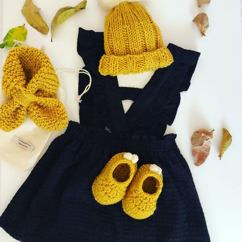 Mustard Baby Beanie with Fur