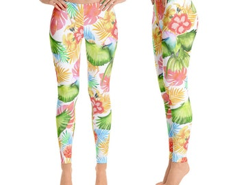 2bf318a40b3d6 Tropical Floral Yoga Leggings, Leggings women, Bird Leggings, Athleisure,  Comfy spandex womens workout clothes and activewear