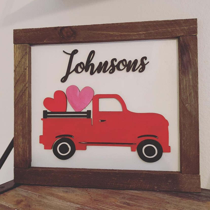 Family name Sign with interchangeable seasons truck workshop