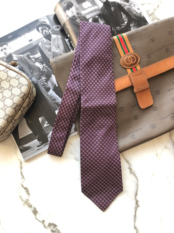 VINTAGE GUCCI GG Print purple Men's Silk Tie