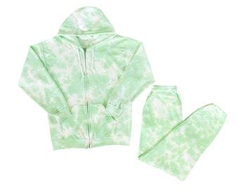 LIME ZIP SET   two piece tie dye set with matching sweatpants and crewneck, hoodie or zip-hoodie sweatshirt & custom tie dye