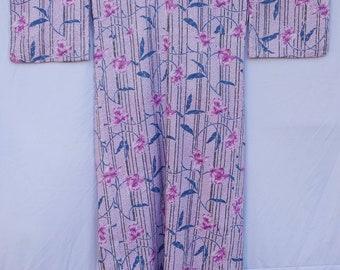 vintage kimono Japanese with  motive flower cotton fabric long kimono