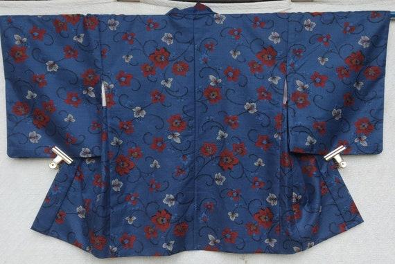 vintage kimono Japanese eagle and beautiful scenerysilk fabric short kimono