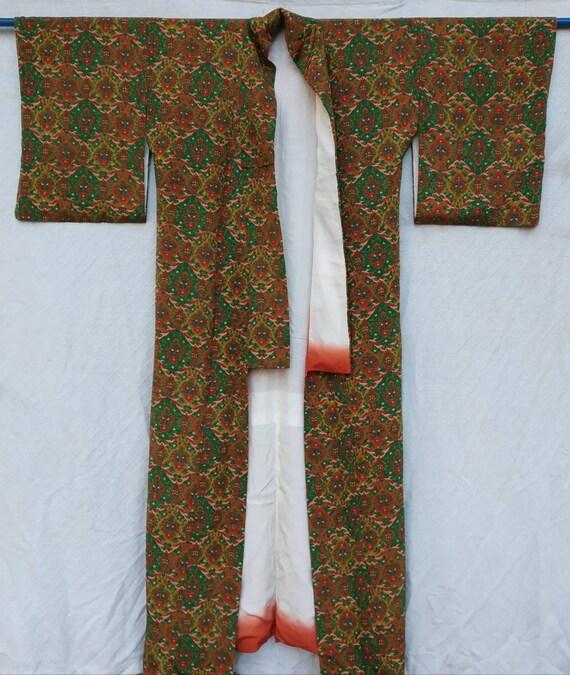 vintage kimono haori beautiful flower long kimono cotton fabric