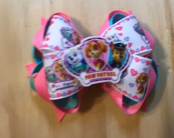Puppy Dog Pals Stacked Boutique Hair Bow Girl Toddler Disney Puppies Pink Purple