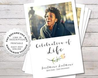 Modern Funeral Program Template And Order Of Service Celebration Life Printable Editable Digital Download